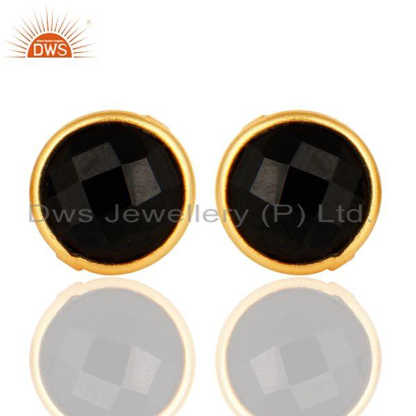 Faceted Black Onyx Gemstone Sterling Silver Round Stud Earrings - Gold Plated
