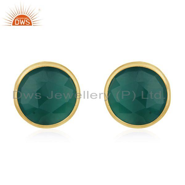 Sterling Silver Faceted Green Onyx Round Shape Plated Gold Stud Earrings