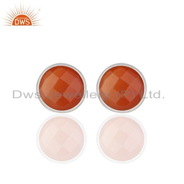 Red Onyx Gemstone Sterling Silver Round Stud Earrings Manufacturer