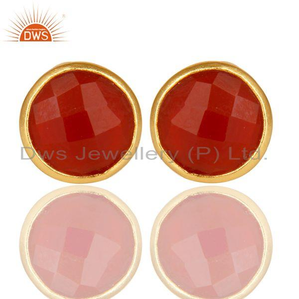 18K Yellow Gold Over Sterling Silver Red Onyx Gemstone Stud Earrings