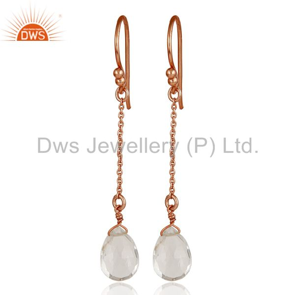 18K Rose Gold Sterling Silver Chain Style Checkered Crystal Quartz Drop Earrings
