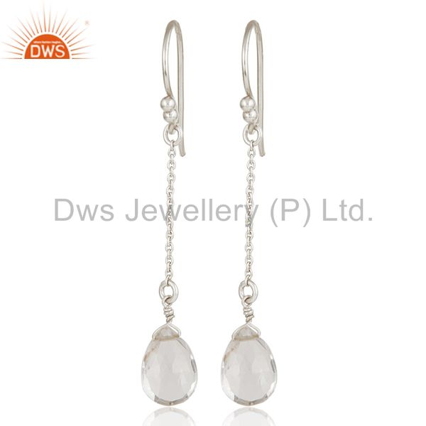 Solid 925 Sterling Silver Chain Style Checkered Crystal Quartz Drop Earrings