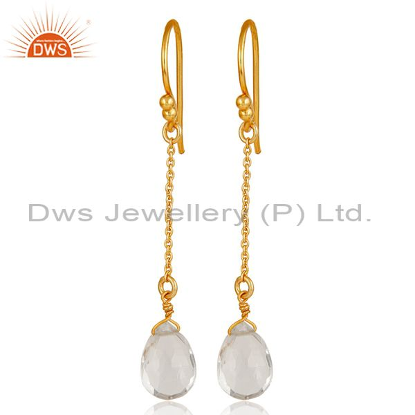 18k Gold Plated Sterling Silver Handmade Chain Style Earring with Crystal Quartz