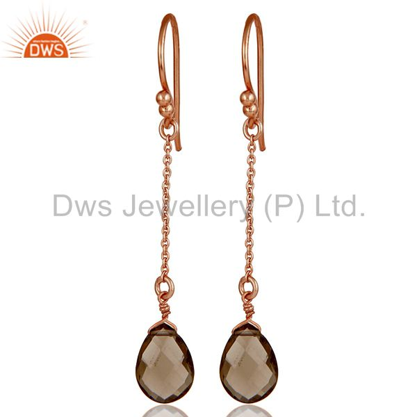 18K Rose Gold Plated 925 Sterling Silver Chain Style Smokey Topaz Drops Earrings