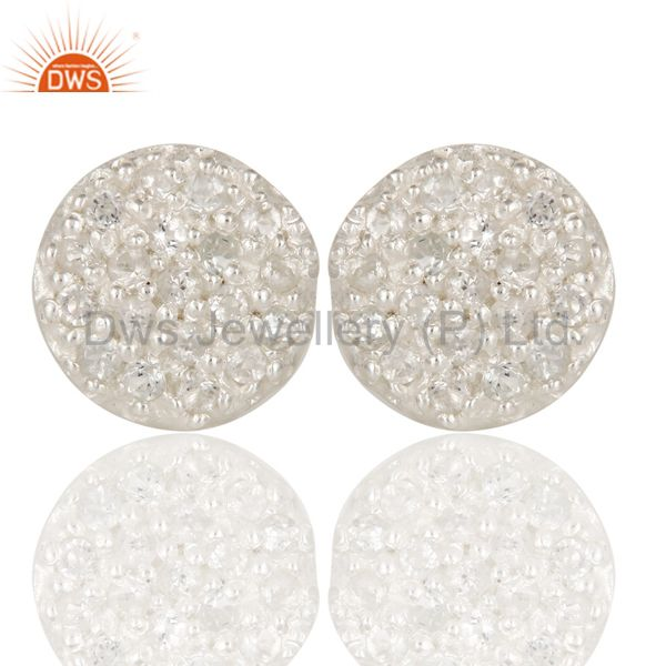 Handmade Solid Sterling Silver Round Cut Stud Earrings with White Topaz