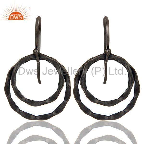 Black Oxidized 925 Sterling Silver Handmade Round Design Drops Earrings