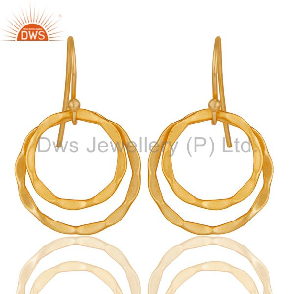 18k Yellow Gold Plated Sterling Silver Handmade Round Design Earrings