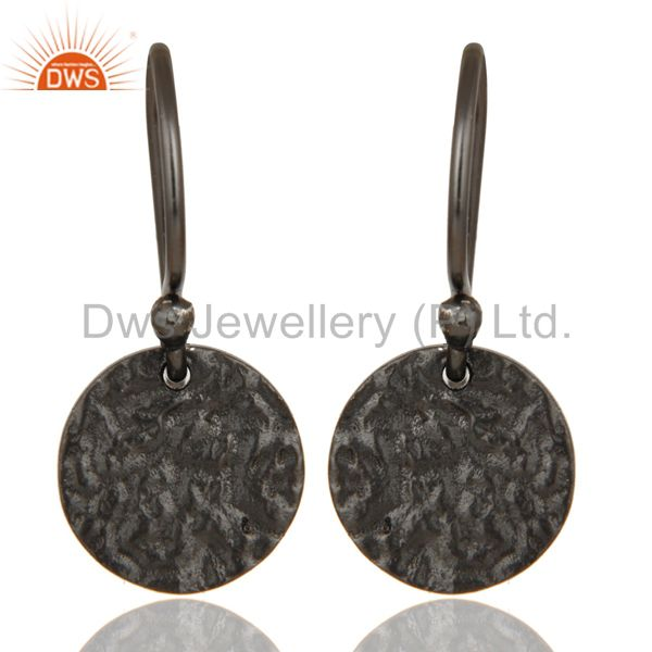Black Oxidized Sterling Silver Handmade Textured Dangle Earrings
