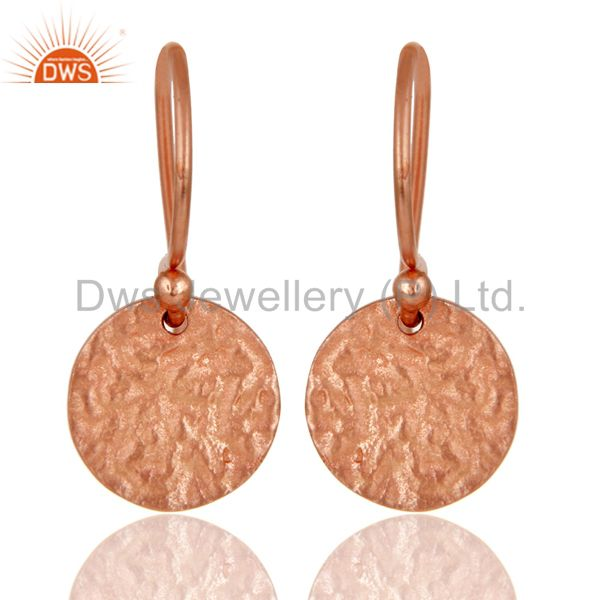 18k Rose Gold Plated 925 Sterling Silver Textured Designer Earrings Jewelry
