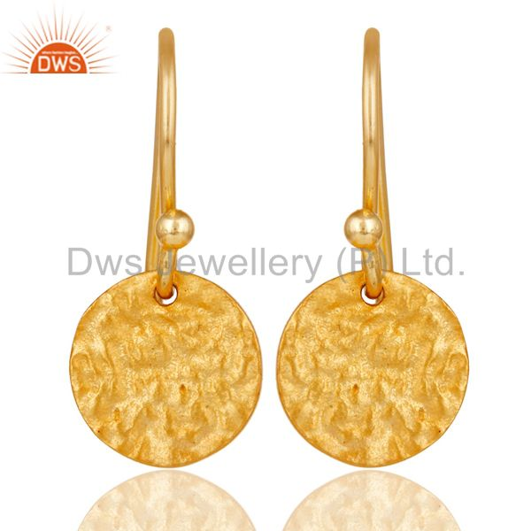 18k Gold Plated 925 Sterling Silver Handmade Textured Design Earrings Jewelry