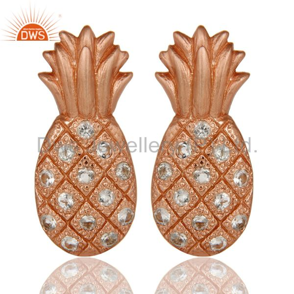 Lovely 18k Rose Gold Plated Sterling Silver Pineapple Design Earrings with Topaz