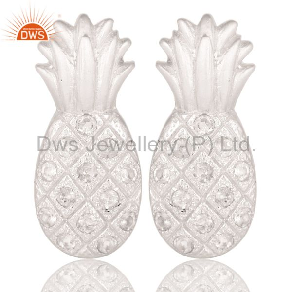 Lovely Solid 925 Sterling Silver Pineapple Design Earrings with White Topaz