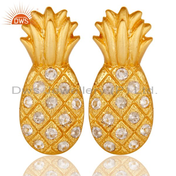 18k Gold Plated Sterling Silver Pineapple Design Earrings with White Topaz