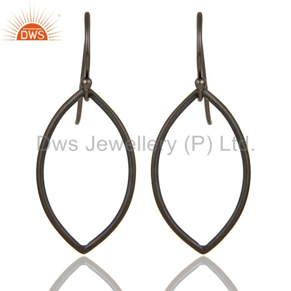 Handmade Black Oxidized 925 Sterling Silver Pear Shape Design Earrings