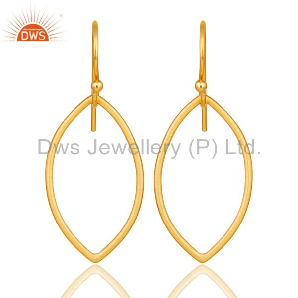 Handmade 18k Yellow Gold Plated Sterling Silver Pear Shape Design Earrings