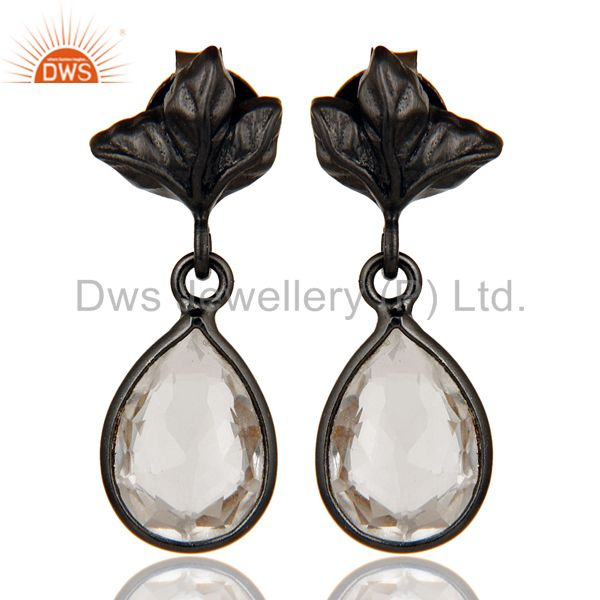 Black Oxidized 925 Sterling Silver Leaf Carving Drop Earring With Crystal Quartz