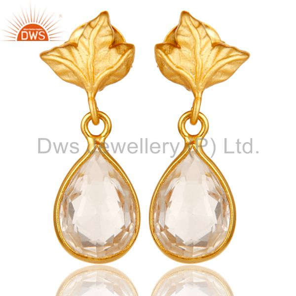 18k Yellow Gold Plated Sterling Silver Leaf Carving with Crystal Quartz