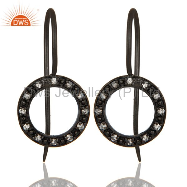 Handmade Round Cut Sterling Silver Earrings with Black Oxidized & White Topaz