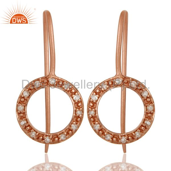 Handmade Round Cut Sterling Silver Earrings with Rose Gold Plated & White Topaz
