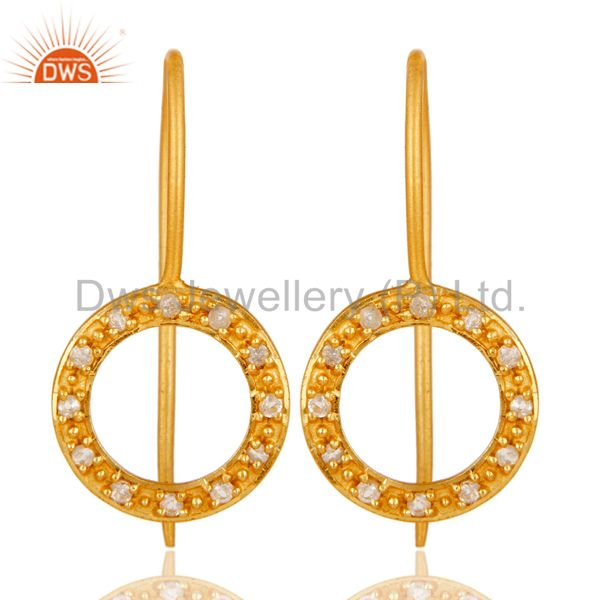 Handmade Round Cut Sterling Silver Earrings with 18k Gold Plated & White Topaz