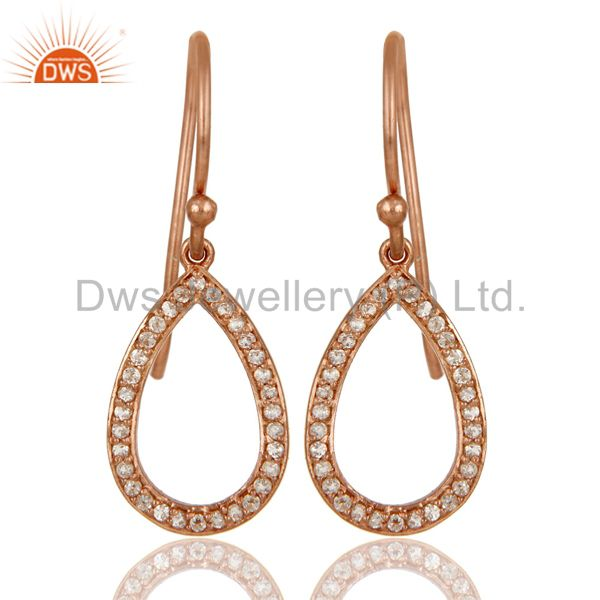 18k Rose Gold Plated Pear Cut 925 Sterling Silver Drop Earrings with White Topaz