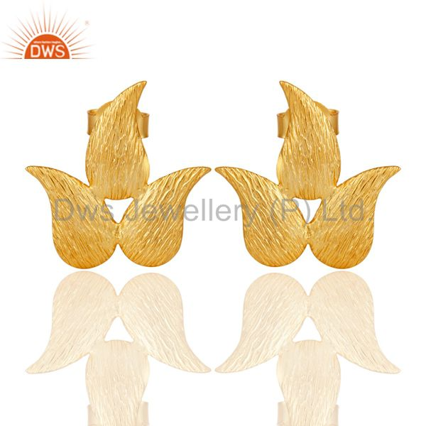 22k Gold Plated New Fashion Prong Set Brass Studs Earrings Jewellery