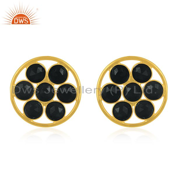 Black Onyx Gemstone 925 Silver Gold Plated Stud Earring Manufacturers
