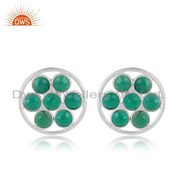 Floral designer sterling silver earring jewelry with green onyx