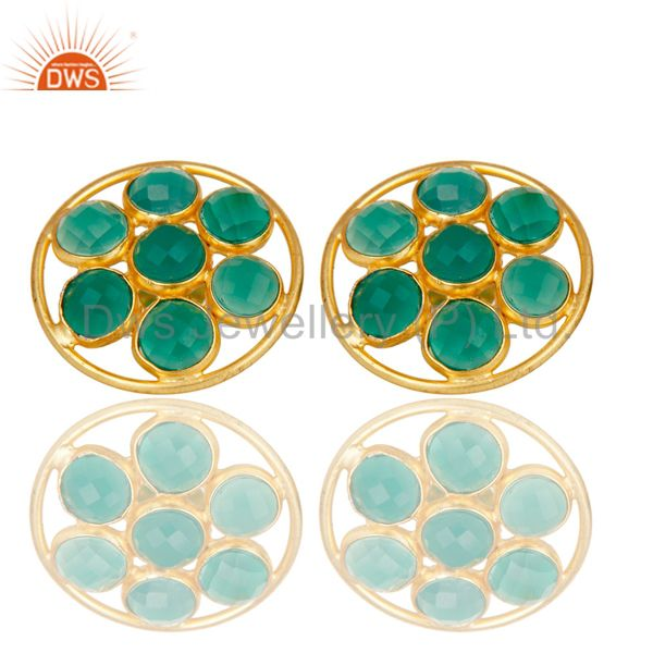 18K Gold Plated Sterling Silver Handmade Green Onyx Bezel Set Gemstone Earrings