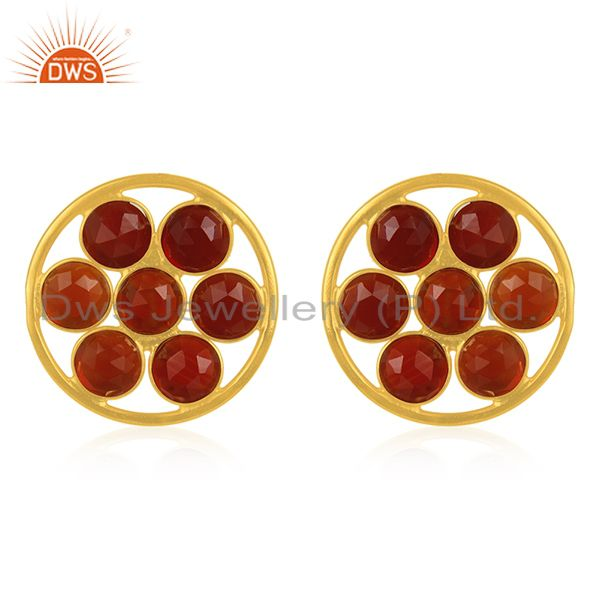 Red Onyx Gemstone 925 Silver Gold Plated Stud Earring Wholesale Suppliers