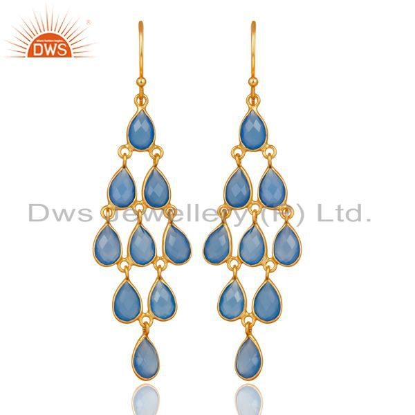 14K Gold Plated 925 Sterling Silver Dyed Chalcedony Bezel Set Dangle Earrings