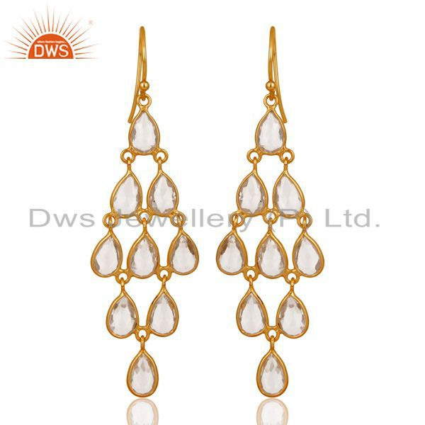 14K Gold Plated 925 Sterling Silver Crystal Quartz Bezel Set Dangle Earrings