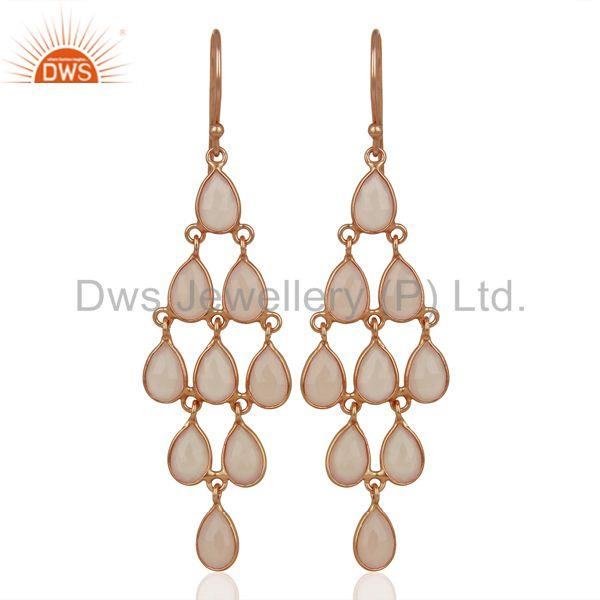 Rose Chalcedony Gemstone 925 Sterling Silver Earrings Supplier