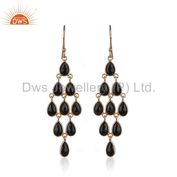 Rose Gold Plated 925 Silver Black Onyx Gemstone Dangle Earrings Manufacturer