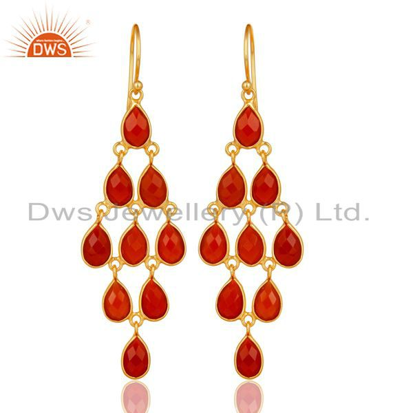 14K Yellow Gold Plated 925 Sterling Silver Red Onyx Bezel Set Dangle Earrings