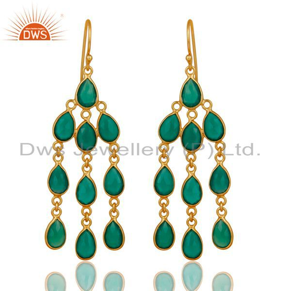 14K Gold Plated 925 Sterling Silver Green Onyx Bezel Set Dangle Earrings