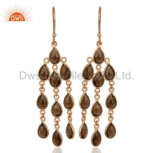 Rose Gold Plated Silver Smoky Quartz Gemstone Fashion Earrings