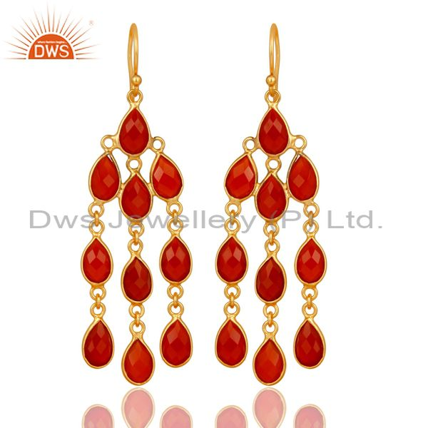 18K Yellow Gold Plated 925 Sterling Silver Handmade Red Onyx Chandelier Earrings