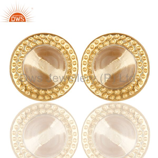 14K Yellow Gold Plated Traditional Handmade Crystal Quartz Brass Studs Earrings