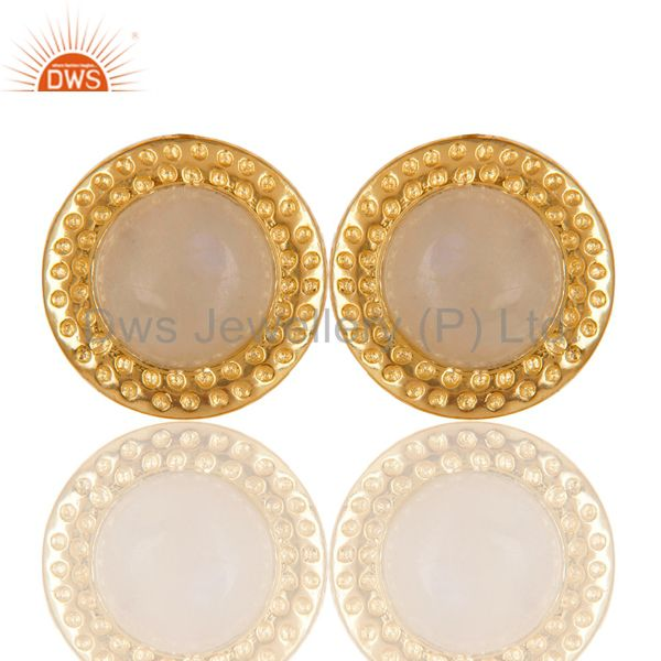 18K Gold Plated Traditional Handmade Rainbow Moonstone Brass Studs Earrings