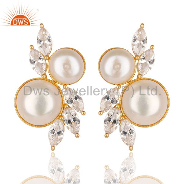 18K Yellow Gold Plated Handmade Pearl & White Zirconia Brass Studs Earrings