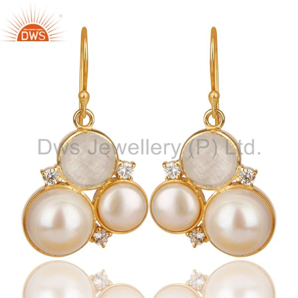 18K Gold Vermeil Rainbow Moonstone Pearl & White Zirconia Brass Drops Earrings