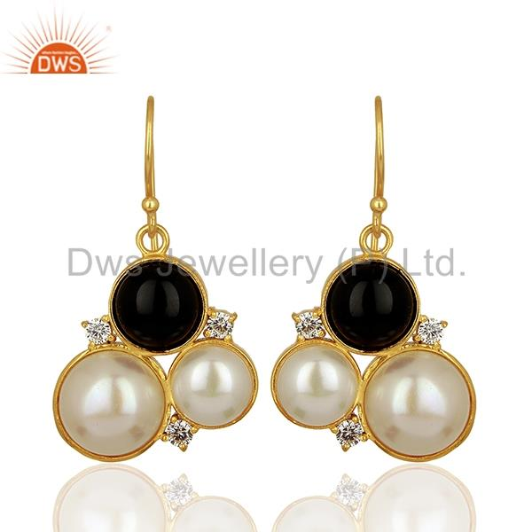 Natural Pearl and Black Onyx Gemstone Bras Earrings Jewelry Supplier