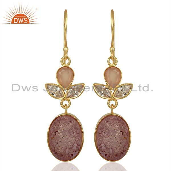 CZ and Pink Druzy Gemstone Gold Plated Fashion Designer Earrings
