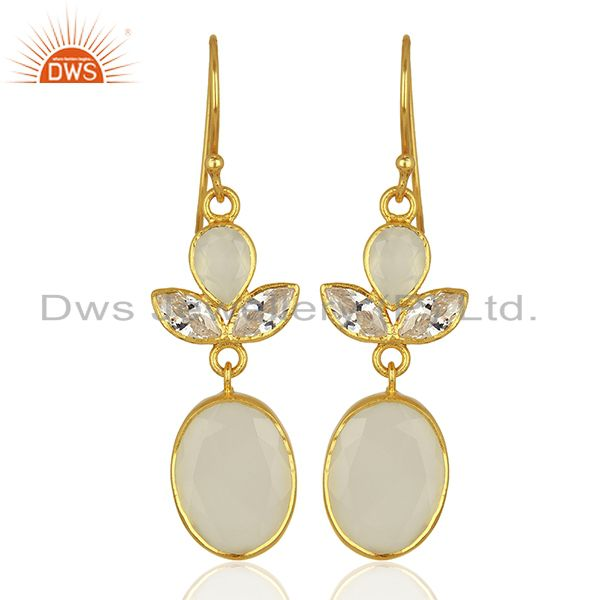 Designer Gold Plated CZ White Chalcedony Gemstone Fashion Earrings