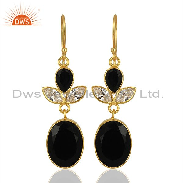 CZ and Black Onyx Gemstone Gold Plated Fashion Girl Earrings Supplier