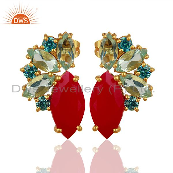 Pink Chalcedony Gemstone Brass Fashion Stud Earrings Jewelry Supplier
