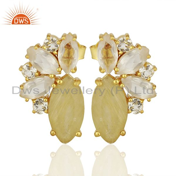 Golden Rutile Gemstone 925 Silver Fashion Stud Earrings Jewelry