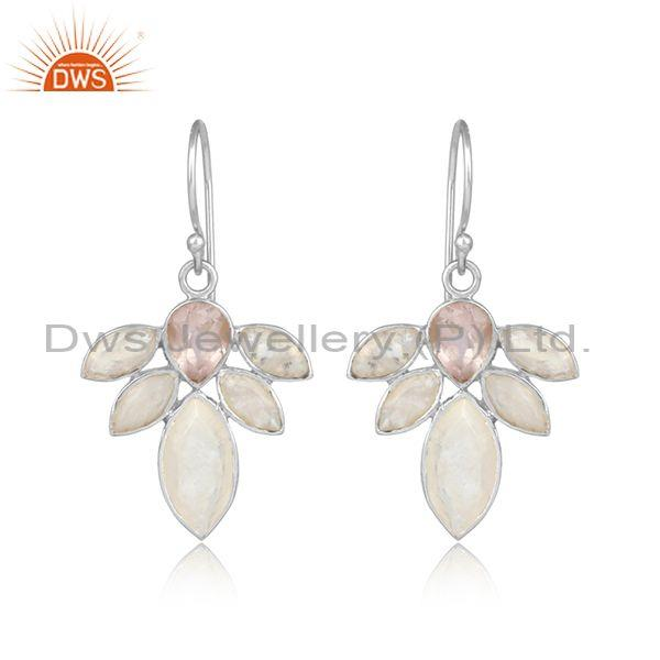 Rose Quartz, Rainbow Moonstone Fine Silver Floral Earrings