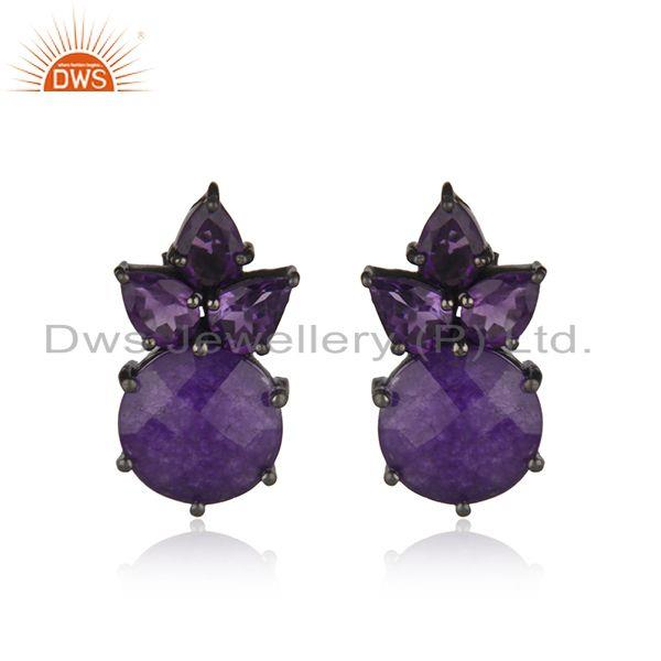 Amethyst Gemstone Black Rhodium Plated 925 Silver Stud Earring